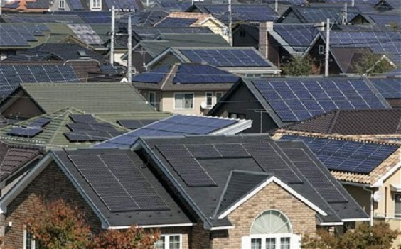 Solar panels on houses in a neighborhood
