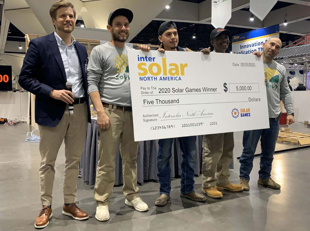 Solar Games winners, Sol-Up, holding giant winning check worth $5000!